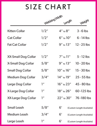 Dog Collar Size Chart, Dog Neck Sizes