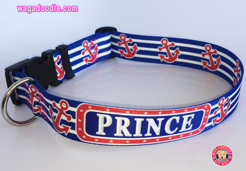 red, white and blue dog collar with preppy anchors