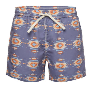 Grey Blue With Ethnic Print Swim Trunk