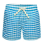 Turquoise And White Square Print Swim Trunk