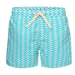 Wavy Light Blue Print Swim Trunk