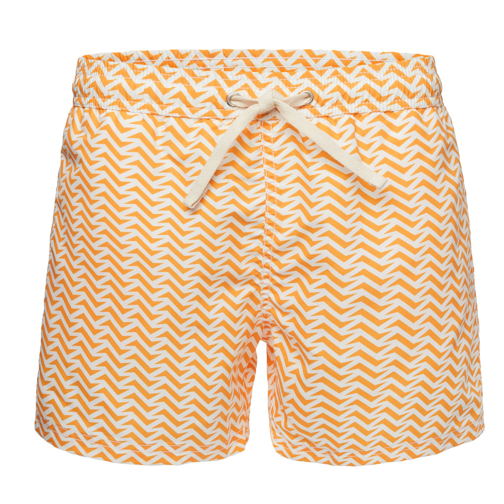 Wavy Yellow Print Swim Trunk
