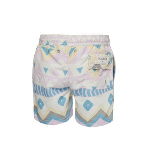 Ethnic Print Light Pink And Blue Swim Trunk