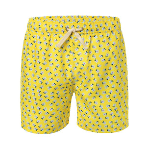 Flower Print on Yellow Men's Swim Trunks