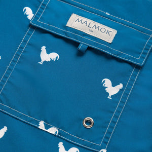 Rooster on Navy Blue Men's Swim Trunks