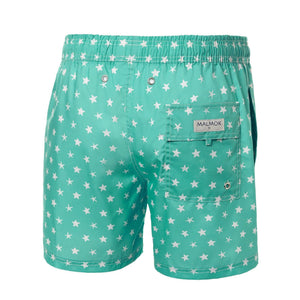 Star Print Turquoise Men's Swim Trunks