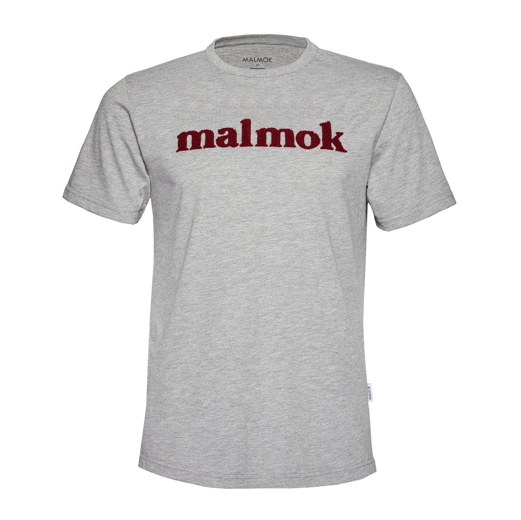 Malmok Organic Cotton Tee Grey Red Logo