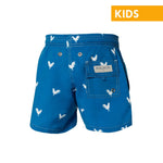 Rooster on Navy Blue Kids Swim Trunks