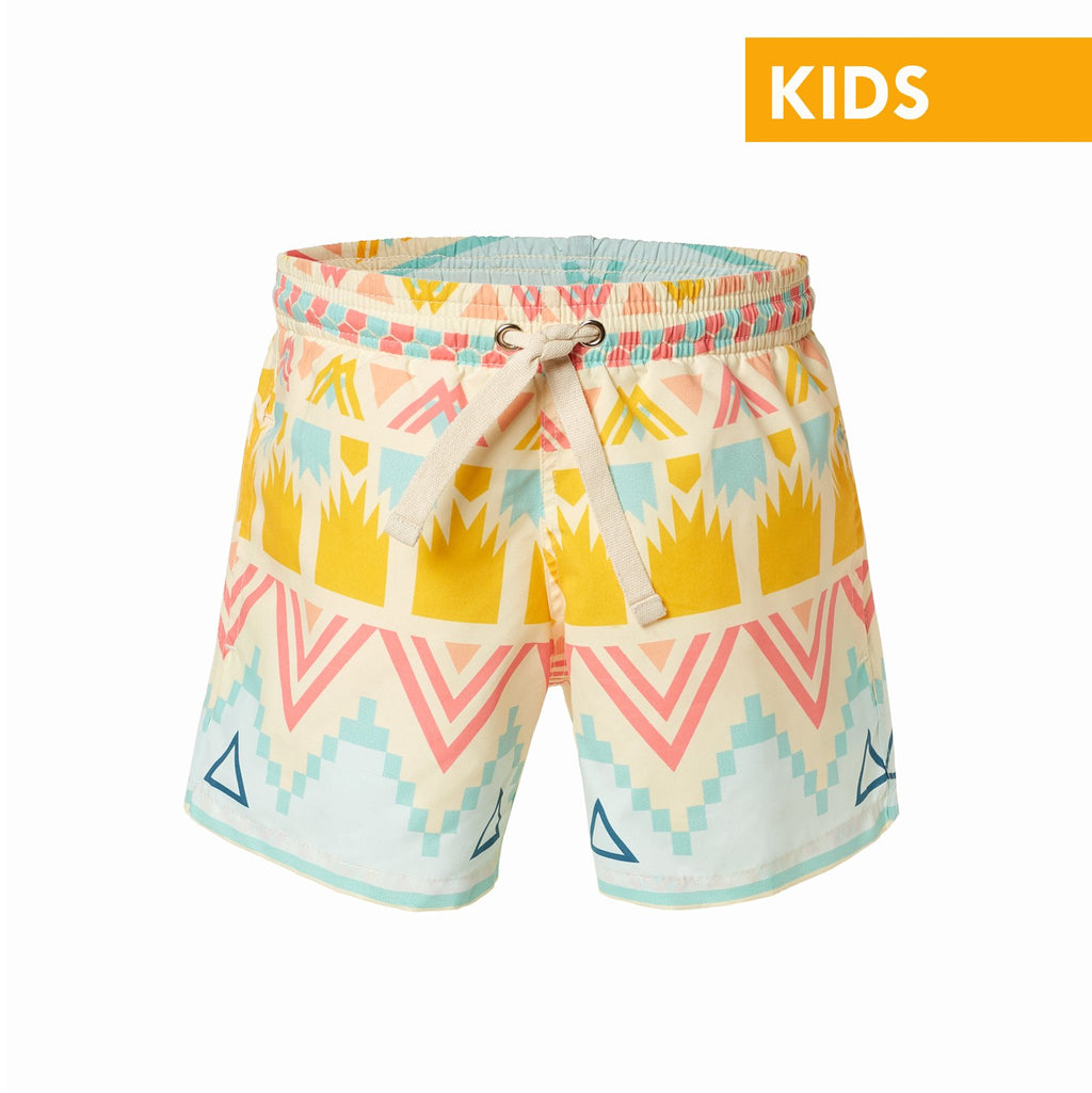 Ethnic Print Kids Swim Trunks