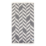 Geometric Dark Gray Beige Turkish Cotton Towel