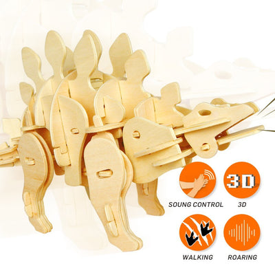 Sound Controlled Walking Stegosaurus Puzzle-Rokr-At Play Toys