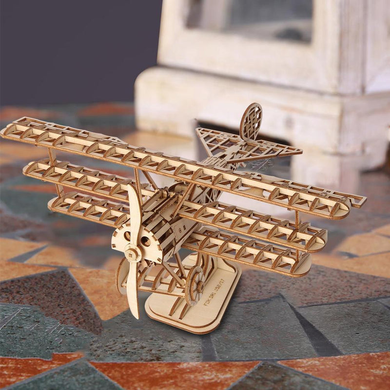 Triplane Airplane 3D Wood Puzzle-Rolife-At Play Toys