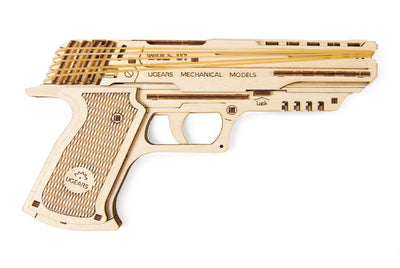 Wolf-01 Pistol Rubber Band Gun-UGears-At Play Toys