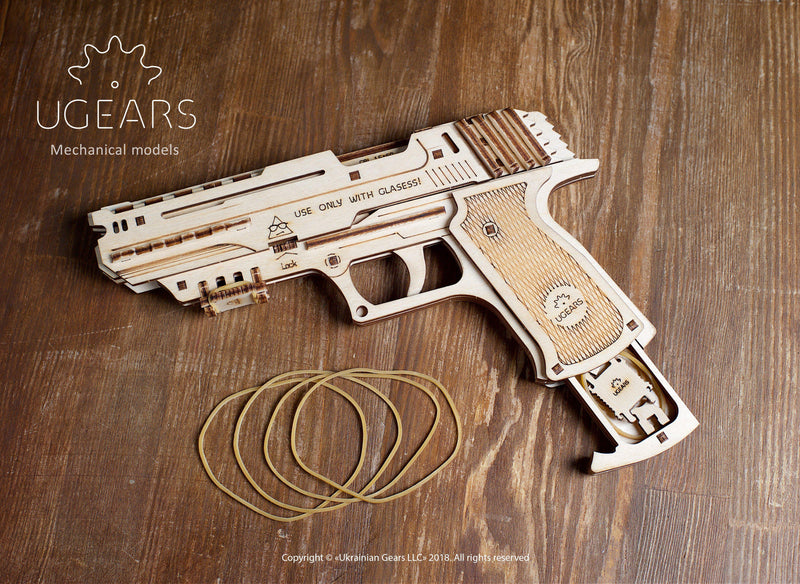 UGears Wolf-01 Pistol Rubber Band Gun-UGears-At Play Toys