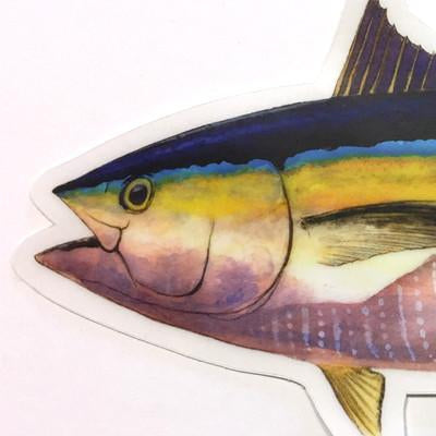 "Yellowfin Tuna 8.5"" Stickers from Amadeo - Red Triangle Spearfishing"