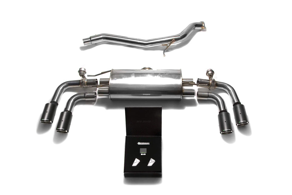 ARMYTRIX Stainless Steel Valvetronic Catback Exhaust System Quad Carbon Tips Audi TT | TTS Quattro MK2 8J 2007-2014