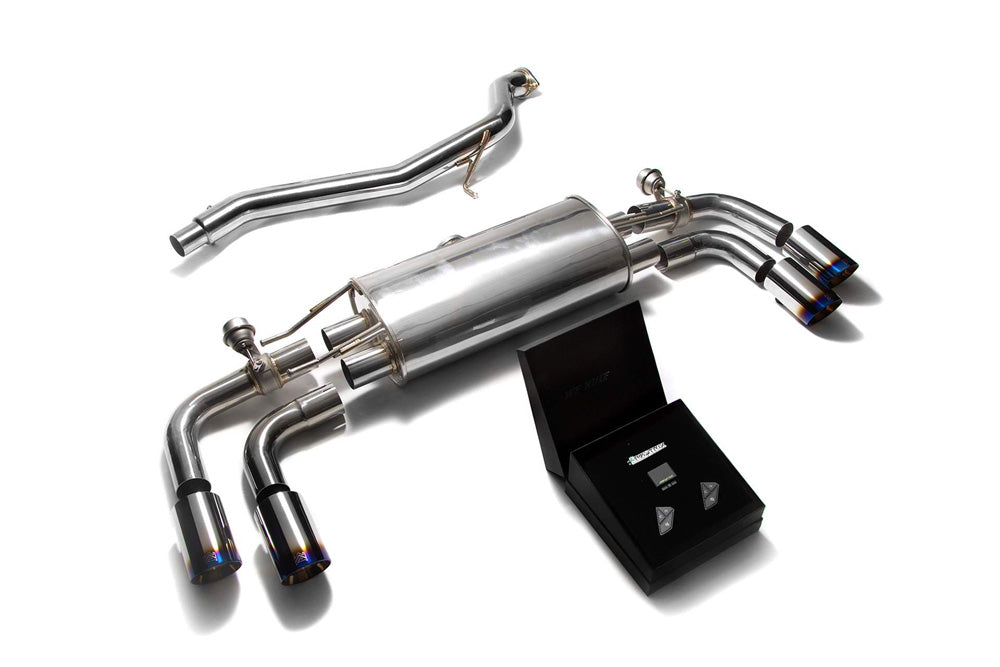 ARMYTRIX Stainless Steel Valvetronic Catback Exhaust System Quad Blue Coated Tips Audi TT | TTS Quattro MK2 8J 2007-2014