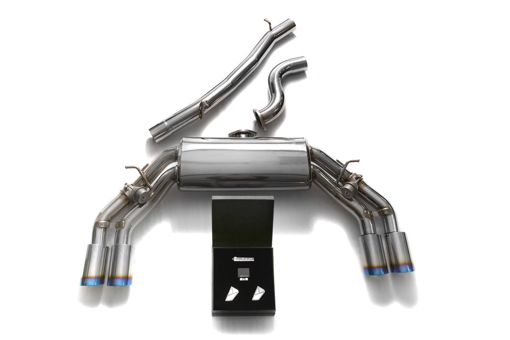 ARMYTRIX Stainless Steel Valvetronic Catback Exhaust System Quad Blue Coated Tips Audi TTS Quattro MK3 8S 2.0 TFSI 2015-2020