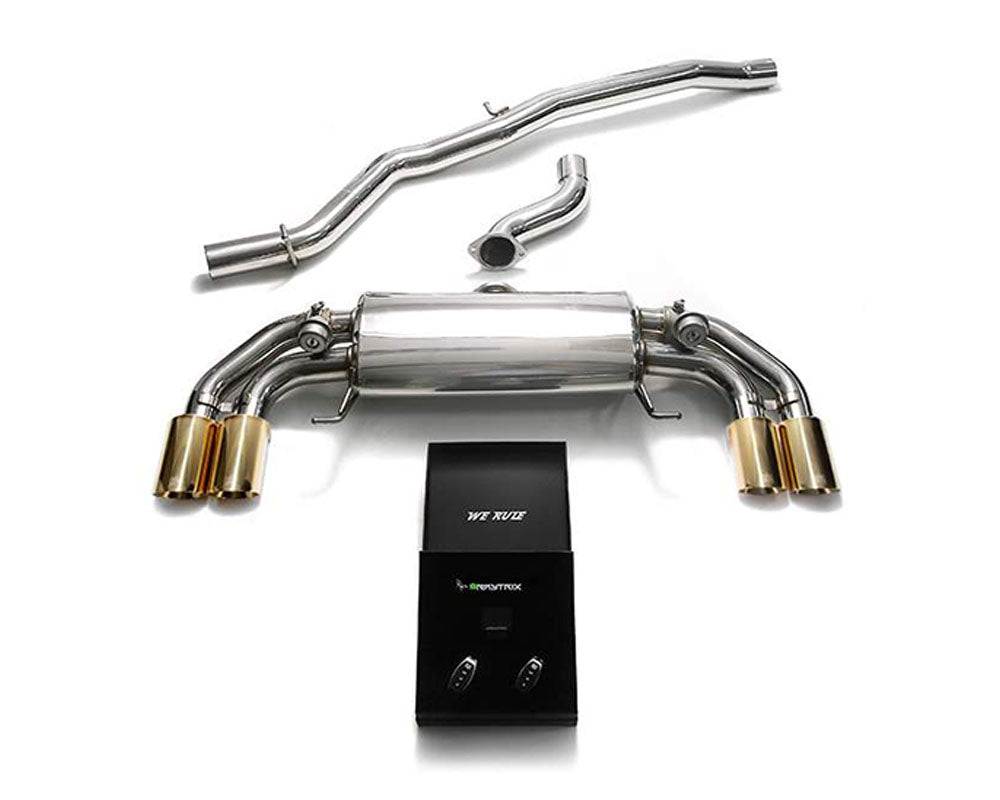 ARMYTRIX Stainless Steel Valvetronic Catback Exhaust System Quad Gold Tips Audi S1 8X 2.0L Turbo 2015-2018