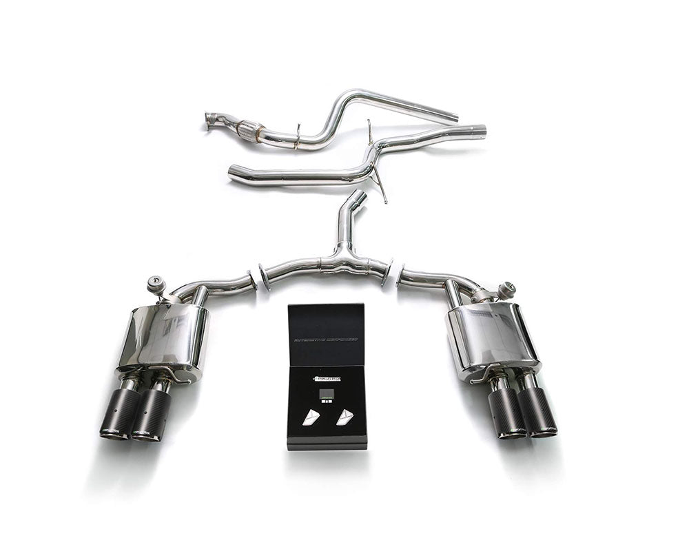 ARMYTRIX Stainless Steel Valvetronic Catback Exhaust System Quad Carbon Tips Audi A4 | A4 Avant 2.0L TFSI B9 2016-2020