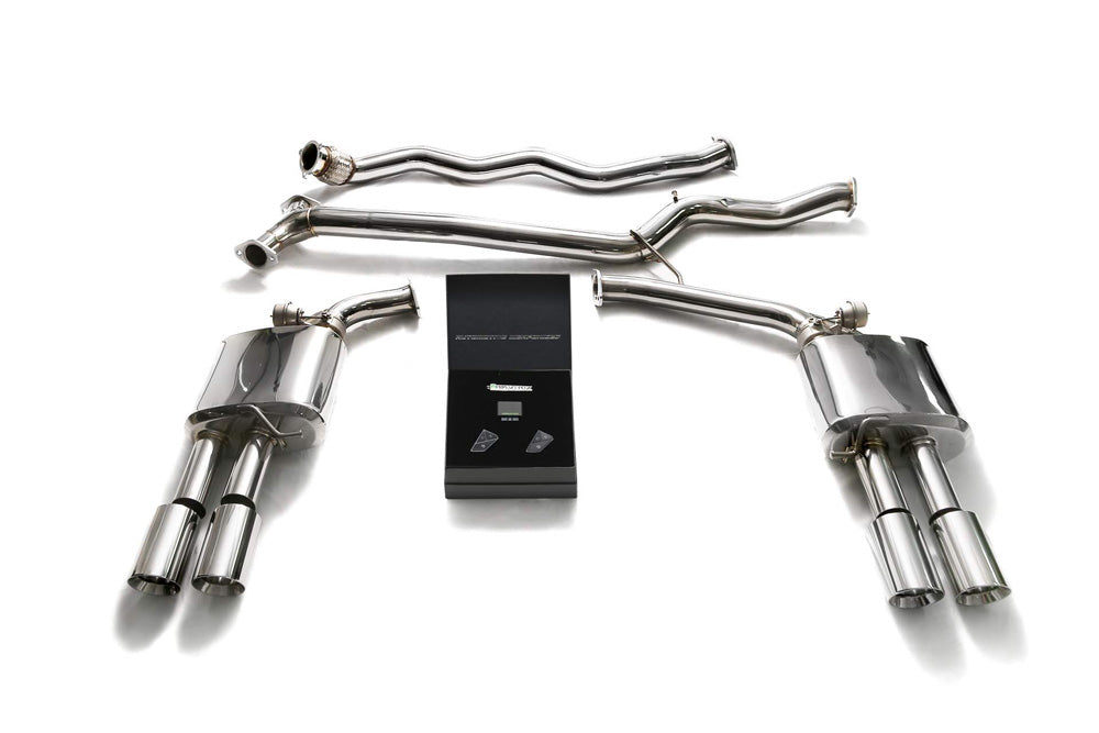 ARMYTRIX Stainless Steel Valvetronic Catback Exhaust System Quad Chrome Coated Tips Audi A4 | A5 B8 2008-2020