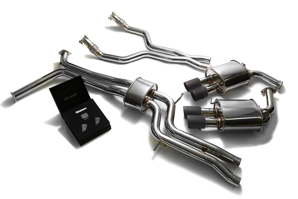 ARMYTRIX Stainless Steel Valvetronic Catback Exhaust System Quad Matte Coated Tips Audi A6 | A7 C7 3.0 TFSI V6 2011-2020
