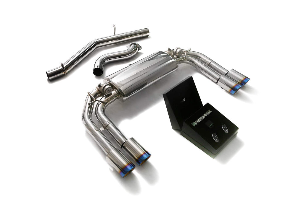 ARMYTRIX Stainless Steel Valvetronic Catback Exhaust System Quad Blue Coated Tips Audi S3 8V Sportback 2013-2020