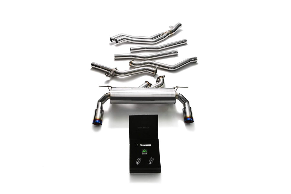 ARMYTRIX Stainless Steel Valvetronic Exhaust System Dual Blue Coated Tips BMW M140i | M240i F2X 2017-2019