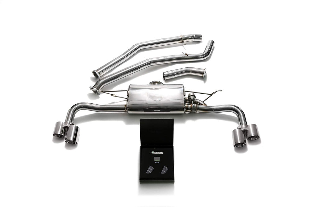 ARMYTRIX Stainless Steel Valvetronic Catback Exhaust System Quad Chrome Silver Tips BMW X5 xDrive 35i F15 2014-2021