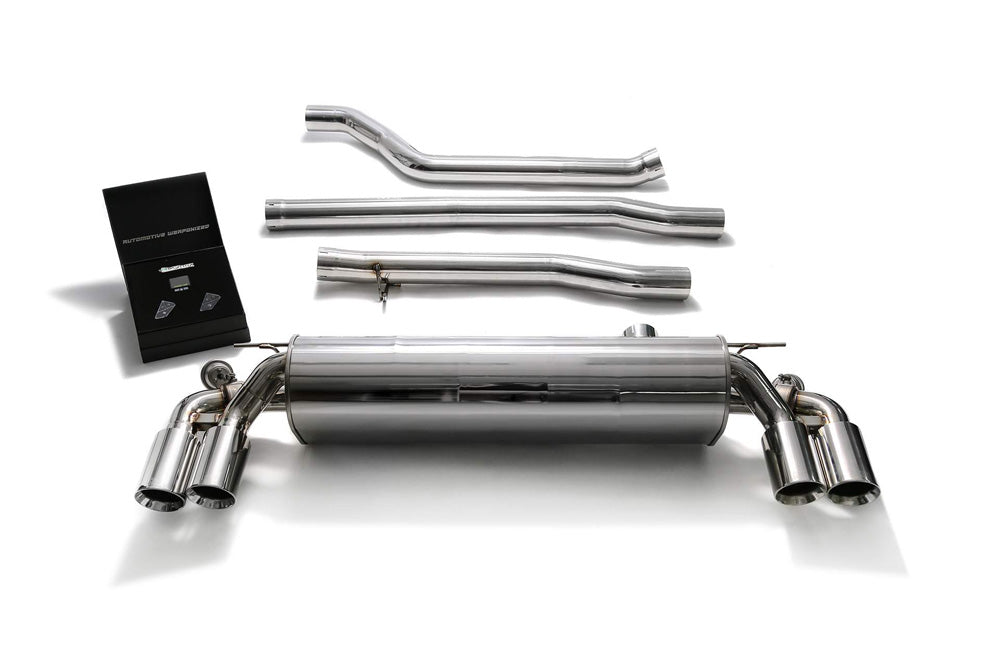 ARMYTRIX Stainless Steel Valvetronic Catback Exhaust System Quad Chrome Silver Tips BMW 520i | 530i G3X 2017-2020