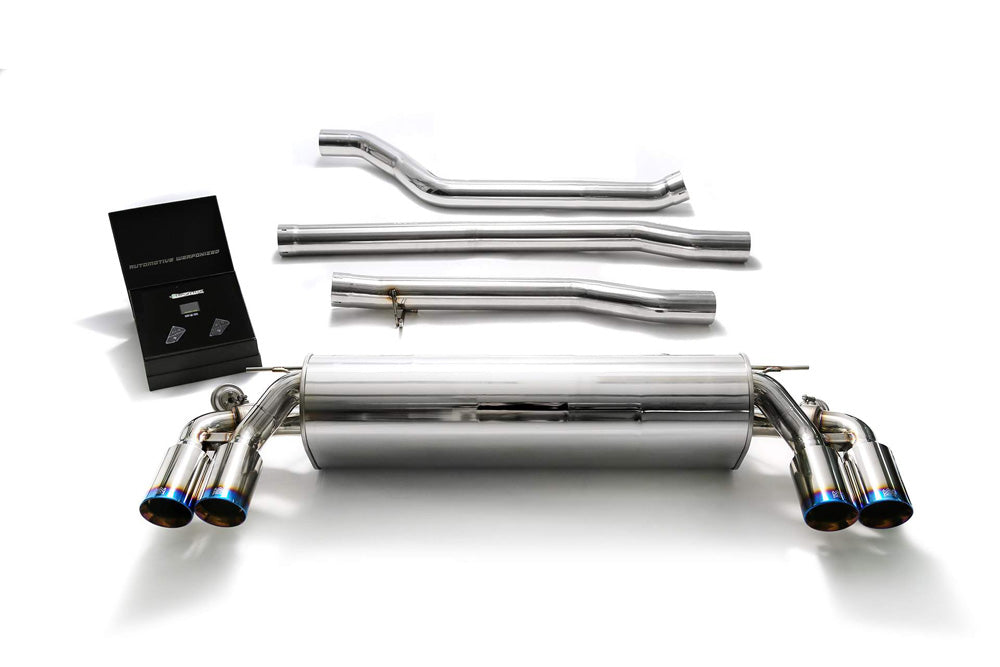 ARMYTRIX Stainless Steel Valvetronic Catback Exhaust System Quad Blue Coated Tips BMW 540i G30 | G31 2017-2020