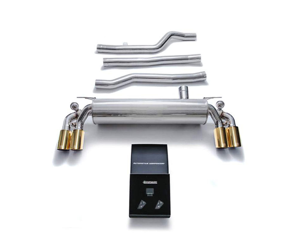 ARMYTRIX Stainless Steel Valvetronic Catback Exhaust System Quad Gold Tips BMW 540i G30 | G31 2017-2020