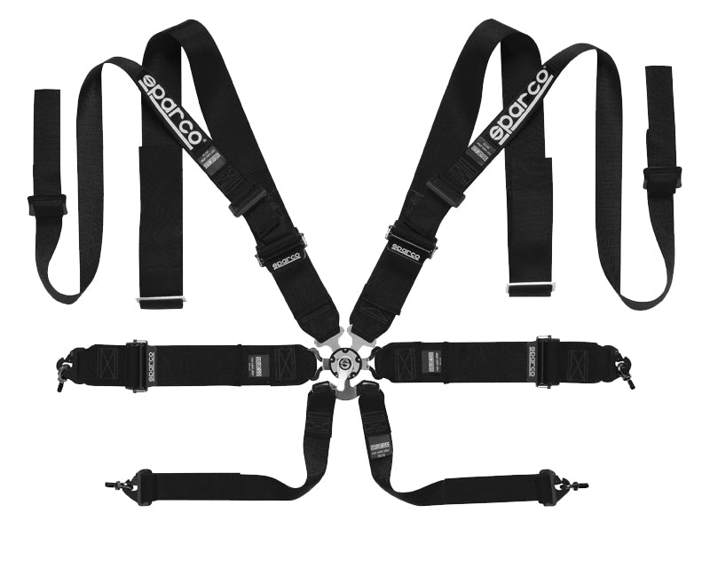Sparco Black Competition 8-Point Double Shoulder Harness