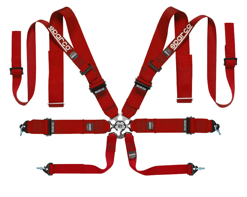 Sparco Red Competition 8-Point Double Shoulder Harness