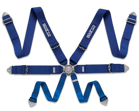 Sparco Competition 6-Point Pull Down Style Harness Blue