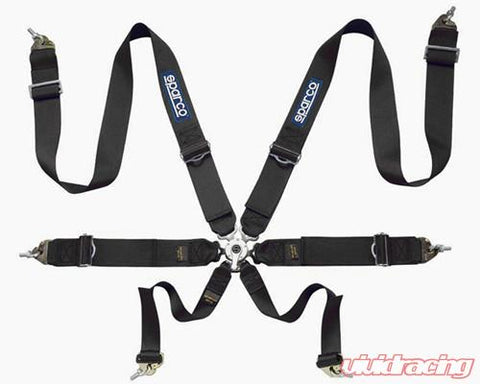 Sparco Competition 6-Point Pull Down Style Harness Black