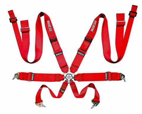 Sparco Competition 8-Point Double Shoulder Harness Red