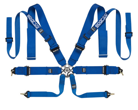 Sparco Blue Competition 8-Point Double Shoulder Harness