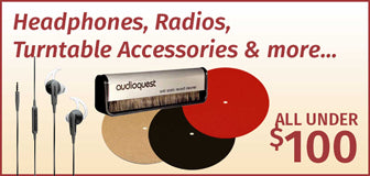 Headphones, Radios, Turntable Accessories & more... All under $100