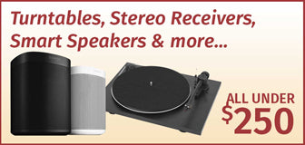 Turntables, Stereo Receivers, Smart Speakers & more... All under $250