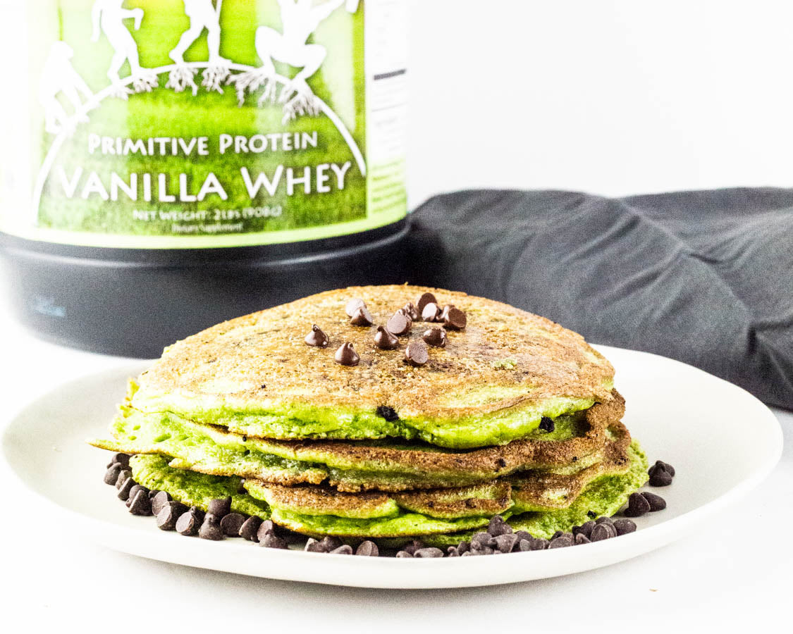 Mint Chocolate Chip Protein Pancakes