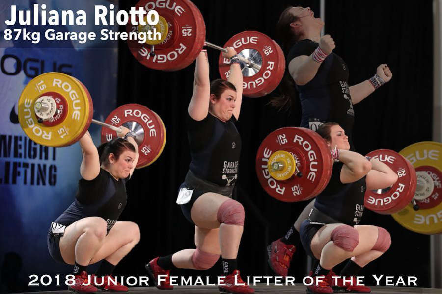 Juliana Riotto 2018 Junior Female Lifter of the Year