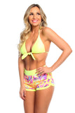 Short Shorts- Neon Tribal w/Neon Lemon Pockets