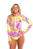 Rashguard- Neon Tribal w/Neon Lemon