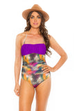 Peasent One Piece - Feathers/Purple