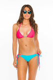 Reversible Double Tie Bottoms- Aqua/Coral