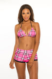 Mad About Plaid Reversible Triangle Top- Pink/Black