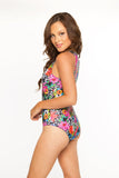 Zip Me Up One Piece- Crazy Daisy w/Fuschia Zipper