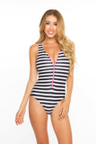 Zip Me Up One Piece- Black & White Stripes w/Neon Pink Zipper