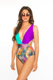 Cut It Out One Piece- Purple/Marine/Feathers